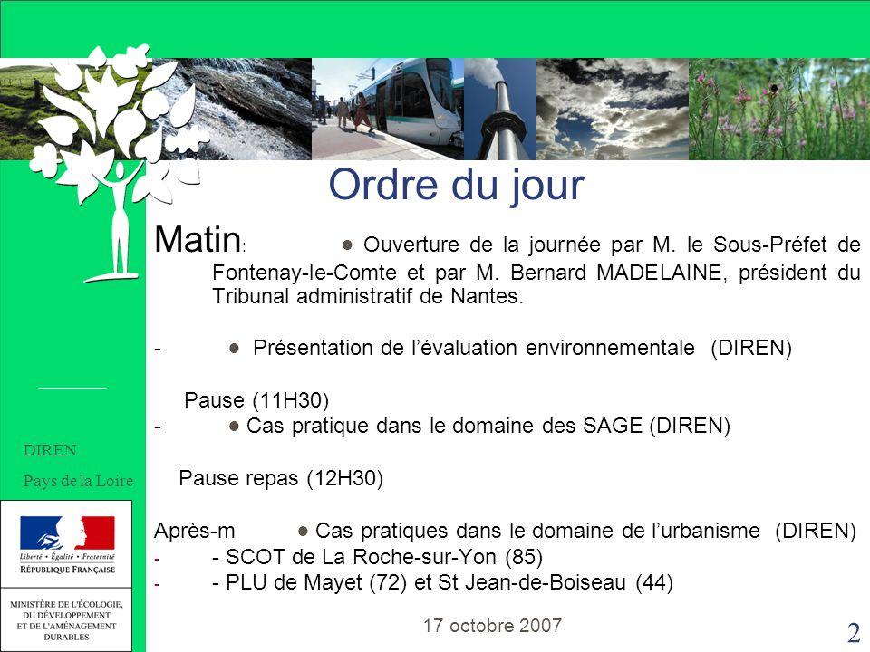 2 SOMMAIRE Matin : Ouverture de la journée par M. le Sous-Préfet de Fontenay-le-Comte et par M.