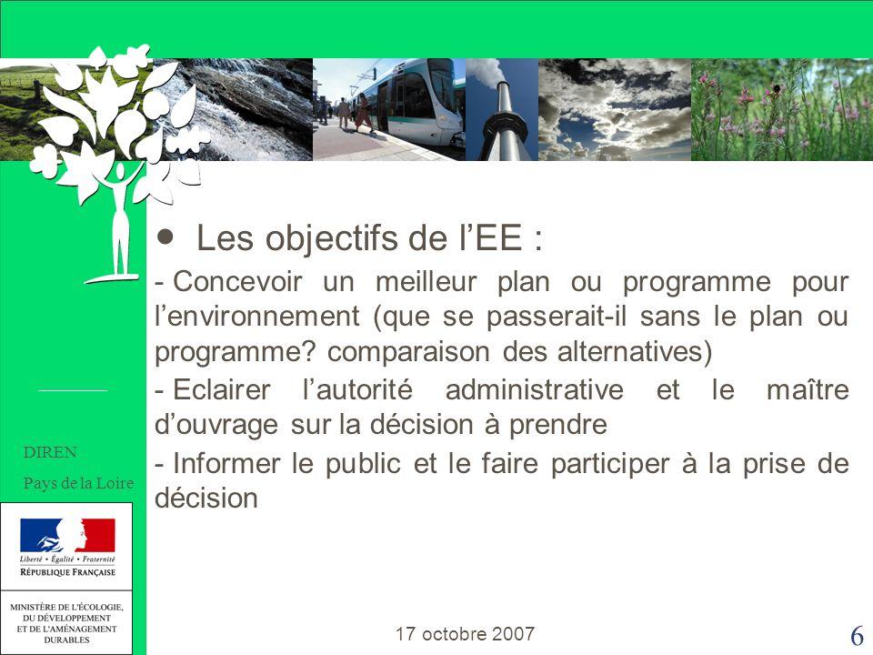 6 Les objectifs de lEE : - Concevoir un meilleur plan ou programme pour lenvironnement (que se passerait-il sans le plan ou programme.