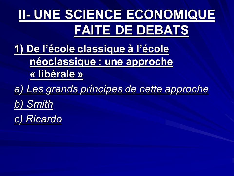 II- UNE SCIENCE ECONOMIQUE FAITE DE DEBATS 1) De lécole classique à lécole néoclassique : une approche « libérale » a) Les grands principes de cette a