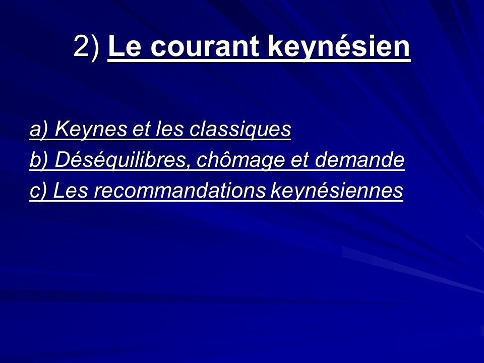 2) Le courant keynésien a) Keynes et les classiques b) Déséquilibres, chômage et demande c) Les recommandations keynésiennes