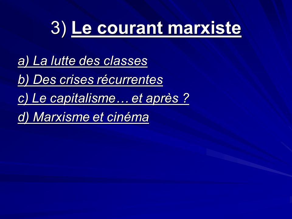 3) Le courant marxiste a) La lutte des classes b) Des crises récurrentes c) Le capitalisme… et après ? d) Marxisme et cinéma