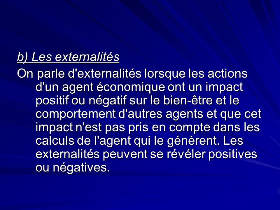 b) Les externalités On parle d'externalités lorsque les actions d'un agent économique ont un impact positif ou négatif sur le bien-être et le comporte