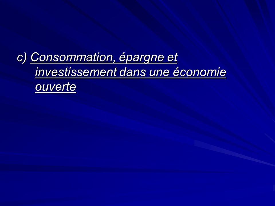c) Consommation, épargne et investissement dans une économie ouverte