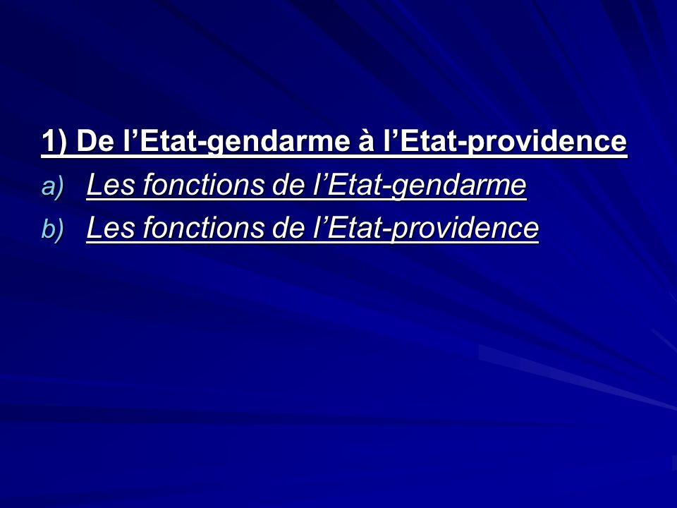 1) De lEtat-gendarme à lEtat-providence a) Les fonctions de lEtat-gendarme b) Les fonctions de lEtat-providence