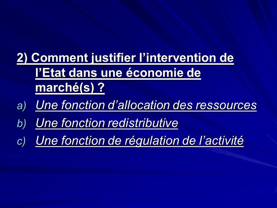 2) Comment justifier lintervention de lEtat dans une économie de marché(s) ? a) Une fonction dallocation des ressources b) Une fonction redistributive