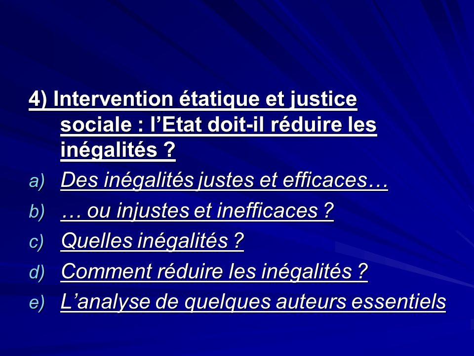 4) Intervention étatique et justice sociale : lEtat doit-il réduire les inégalités ? a) Des inégalités justes et efficaces… b) … ou injustes et ineffi
