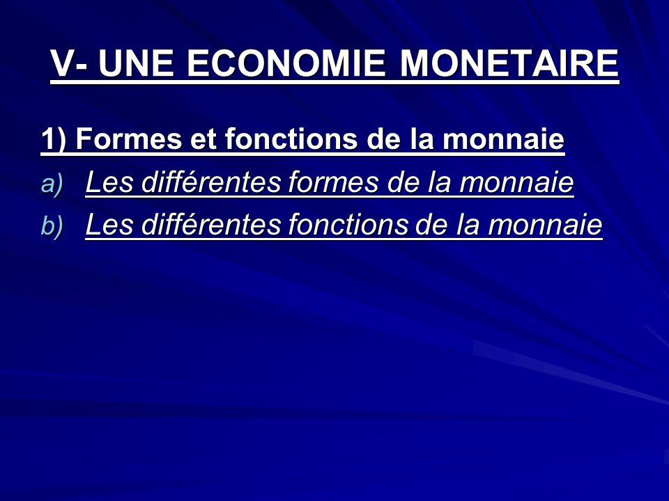 V- UNE ECONOMIE MONETAIRE 1) Formes et fonctions de la monnaie a) Les différentes formes de la monnaie b) Les différentes fonctions de la monnaie