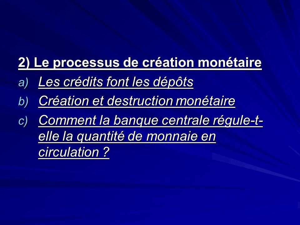2) Le processus de création monétaire a) Les crédits font les dépôts b) Création et destruction monétaire c) Comment la banque centrale régule-t- elle