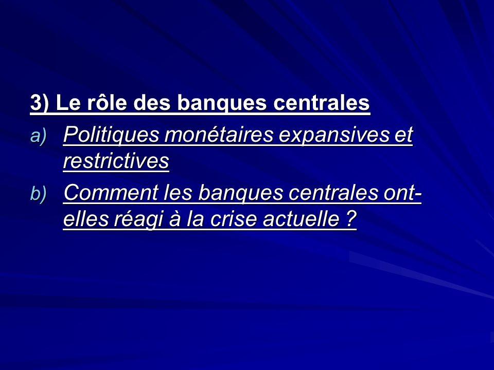 3) Le rôle des banques centrales a) Politiques monétaires expansives et restrictives b) Comment les banques centrales ont- elles réagi à la crise actu