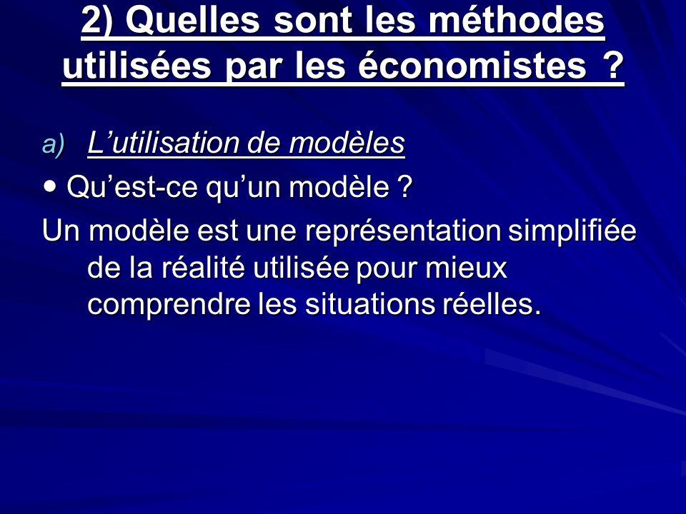 2) Quelles sont les méthodes utilisées par les économistes ? a) Lutilisation de modèles Quest-ce quun modèle ? Quest-ce quun modèle ? Un modèle est un