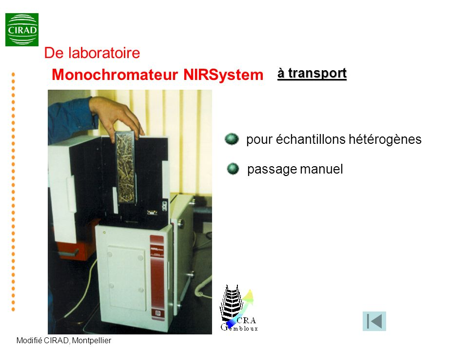 Monochromateur NIRSystem pour échantillons hétérogènes passage manuel à transport Modifié CIRAD, Montpellier De laboratoire