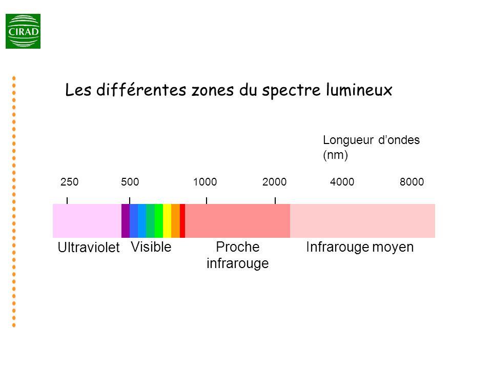 1000500200040008000250 Ultraviolet VisibleProche infrarouge Infrarouge moyen Longueur dondes (nm) Les différentes zones du spectre lumineux