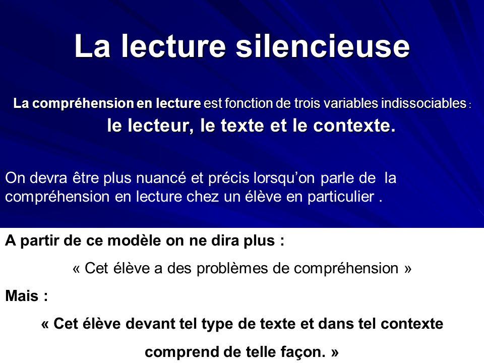 La lecture silencieuse La compréhension en lecture est fonction de trois variables indissociables : le lecteur, le texte et le contexte. On devra être