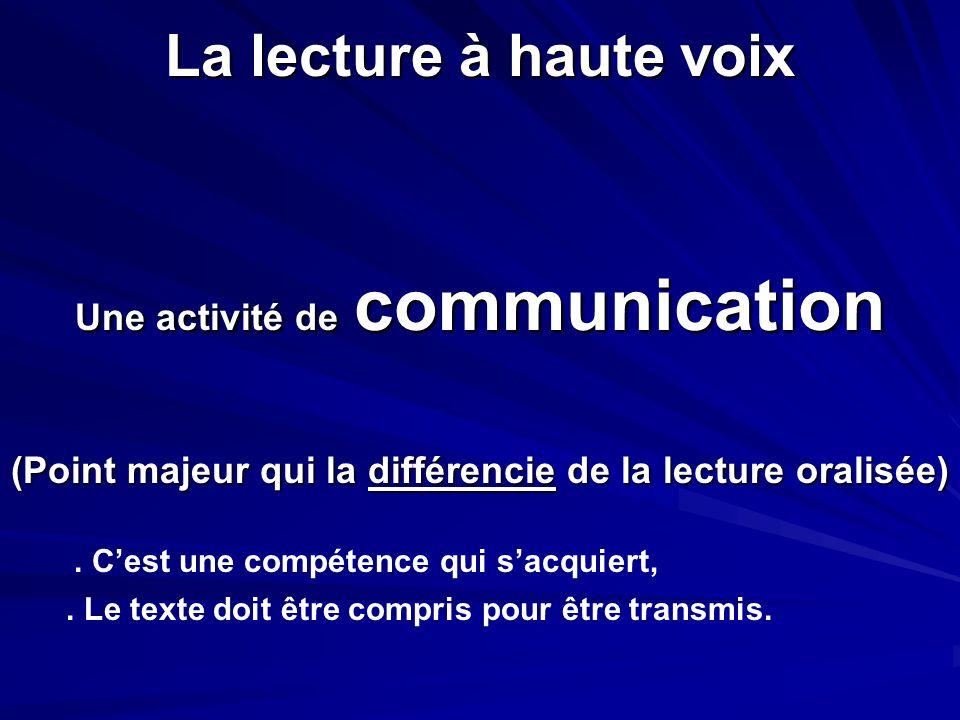 La lecture à haute voix Une activité de communication (Point majeur qui la différencie de la lecture oralisée). Cest une compétence qui sacquiert,. Le