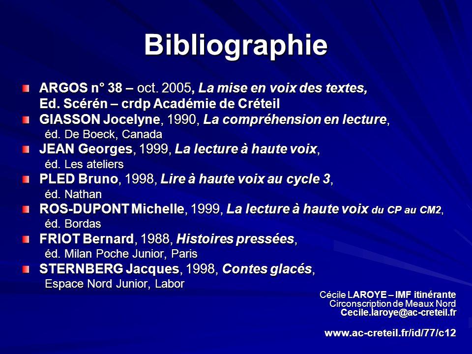 Bibliographie ARGOS n° 38 – oct. 2005, La mise en voix des textes, Ed. Scérén – crdp Académie de Créteil GIASSON Jocelyne, 1990, La compréhension en l