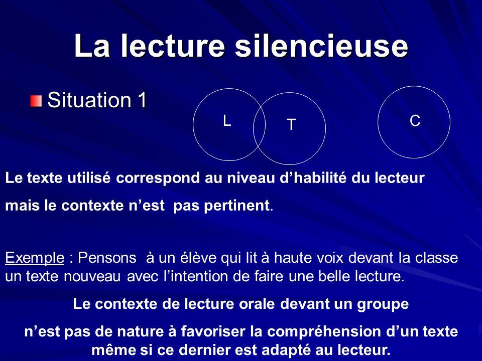 La lecture silencieuse Situation 1 L T C Le texte utilisé correspond au niveau dhabilité du lecteur mais le contexte nest pas pertinent. Exemple : Pen