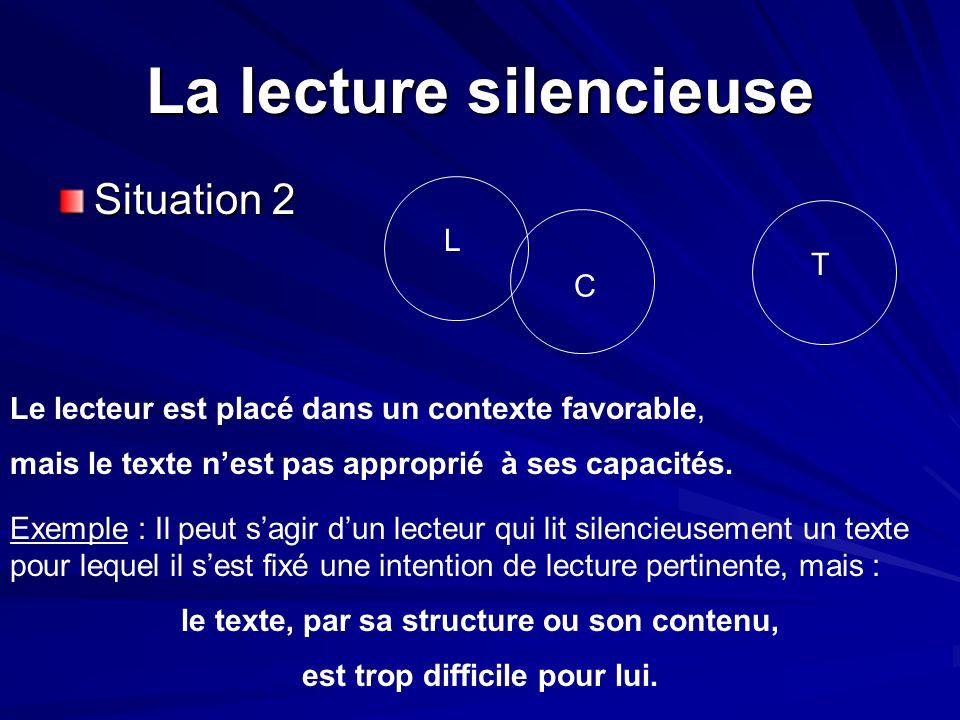 La lecture silencieuse Situation 2 L T C Le lecteur est placé dans un contexte favorable, mais le texte nest pas approprié à ses capacités. Exemple :