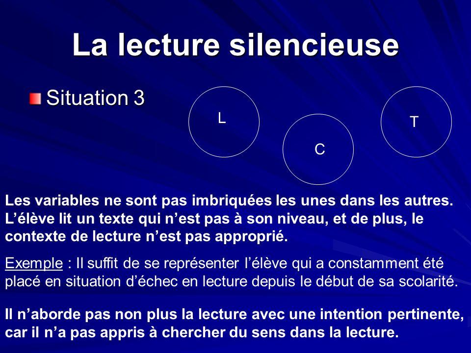 La lecture silencieuse Situation 3 L T C Les variables ne sont pas imbriquées les unes dans les autres. Lélève lit un texte qui nest pas à son niveau,