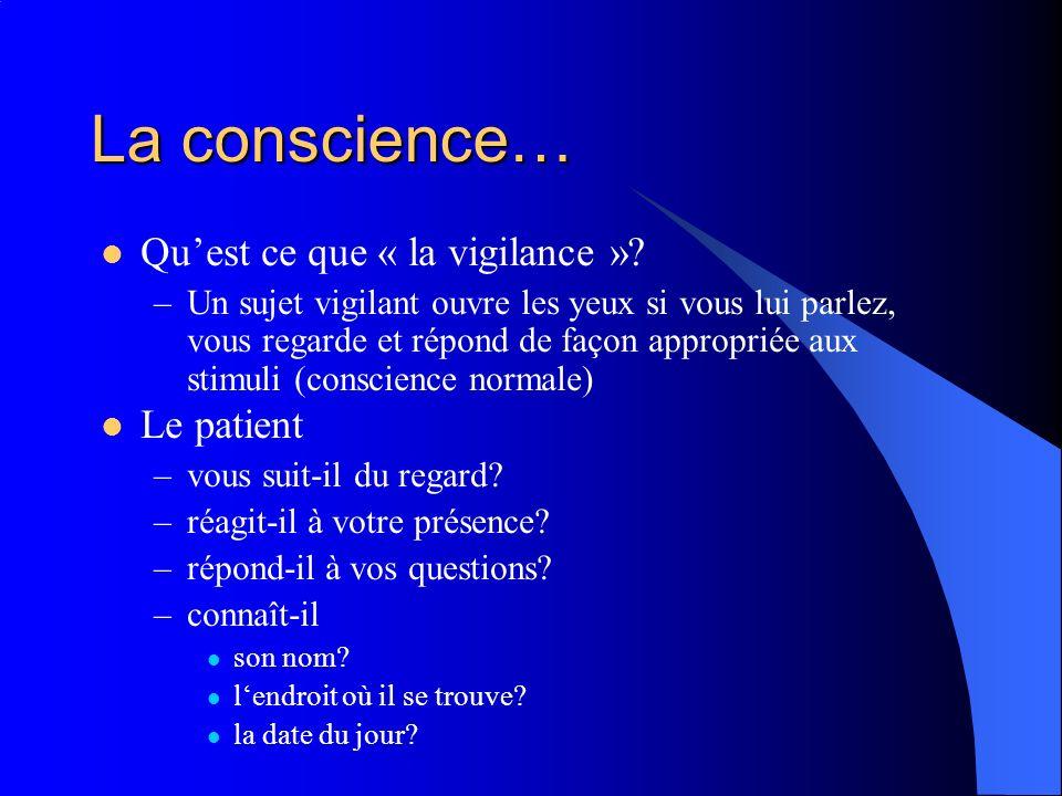 La conscience… Quest ce que « la vigilance »? –Un sujet vigilant ouvre les yeux si vous lui parlez, vous regarde et répond de façon appropriée aux sti