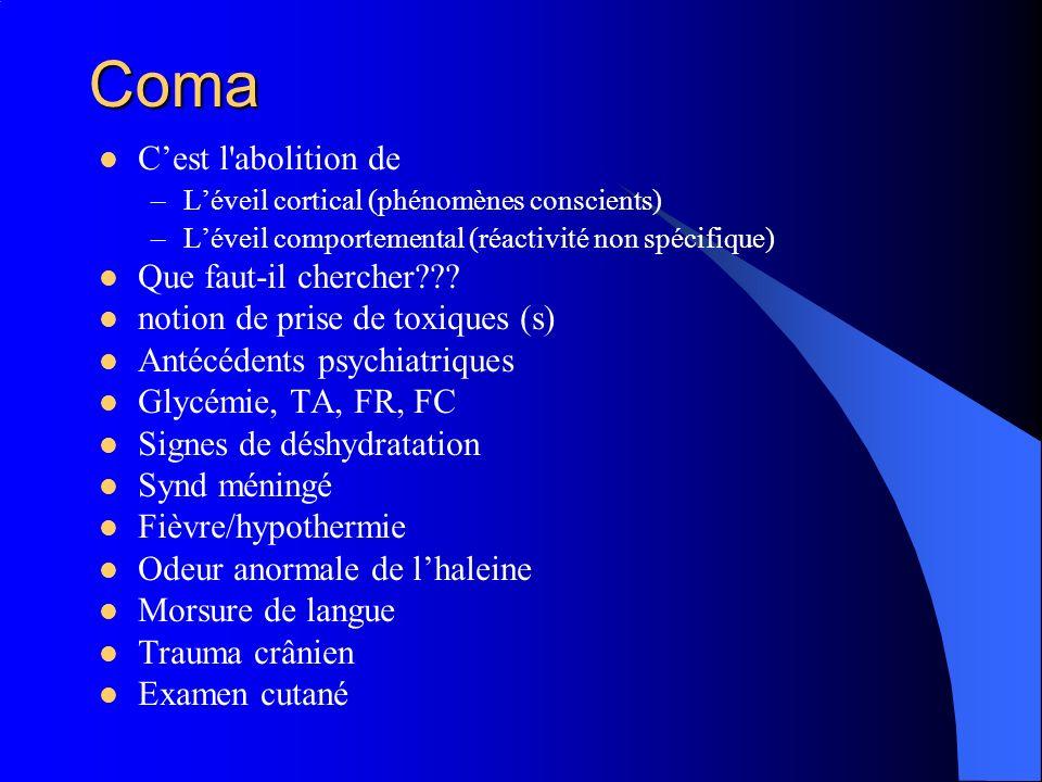 Coma Cest l'abolition de –Léveil cortical (phénomènes conscients) –Léveil comportemental (réactivité non spécifique) Que faut-il chercher??? notion de