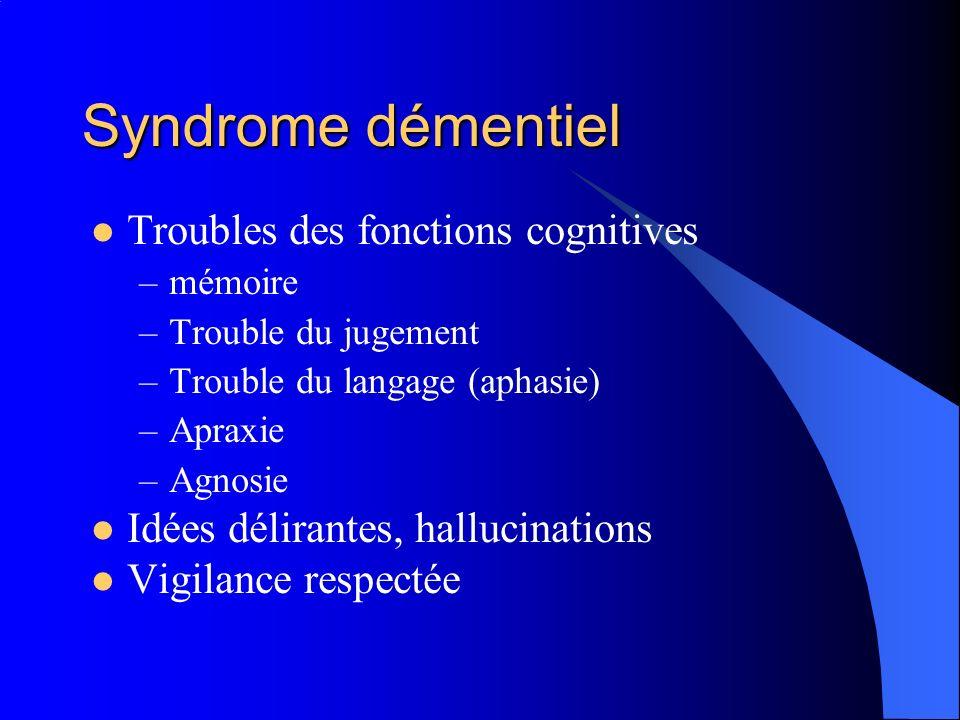 Syndrome démentiel Troubles des fonctions cognitives –mémoire –Trouble du jugement –Trouble du langage (aphasie) –Apraxie –Agnosie Idées délirantes, h