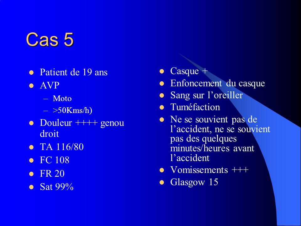 Cas 5 Patient de 19 ans AVP –Moto –>50Kms/h) Douleur ++++ genou droit TA 116/80 FC 108 FR 20 Sat 99% Casque + Enfoncement du casque Sang sur loreiller
