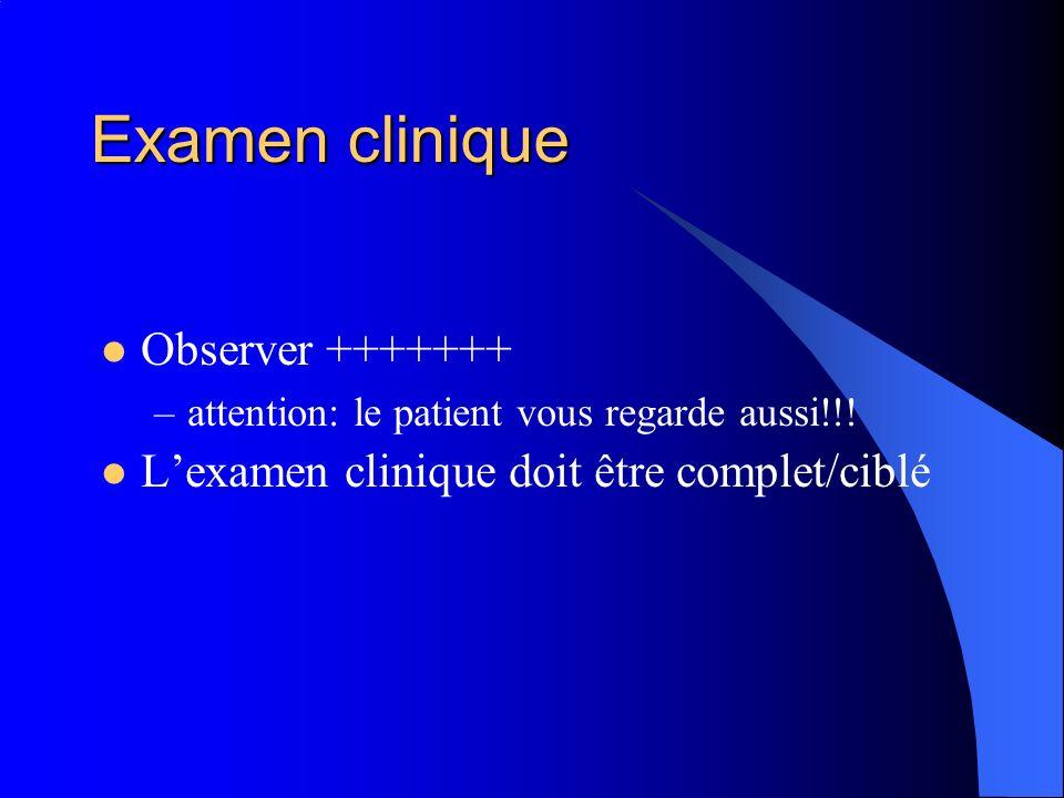 Examen clinique Observer +++++++ –attention: le patient vous regarde aussi!!! Lexamen clinique doit être complet/ciblé