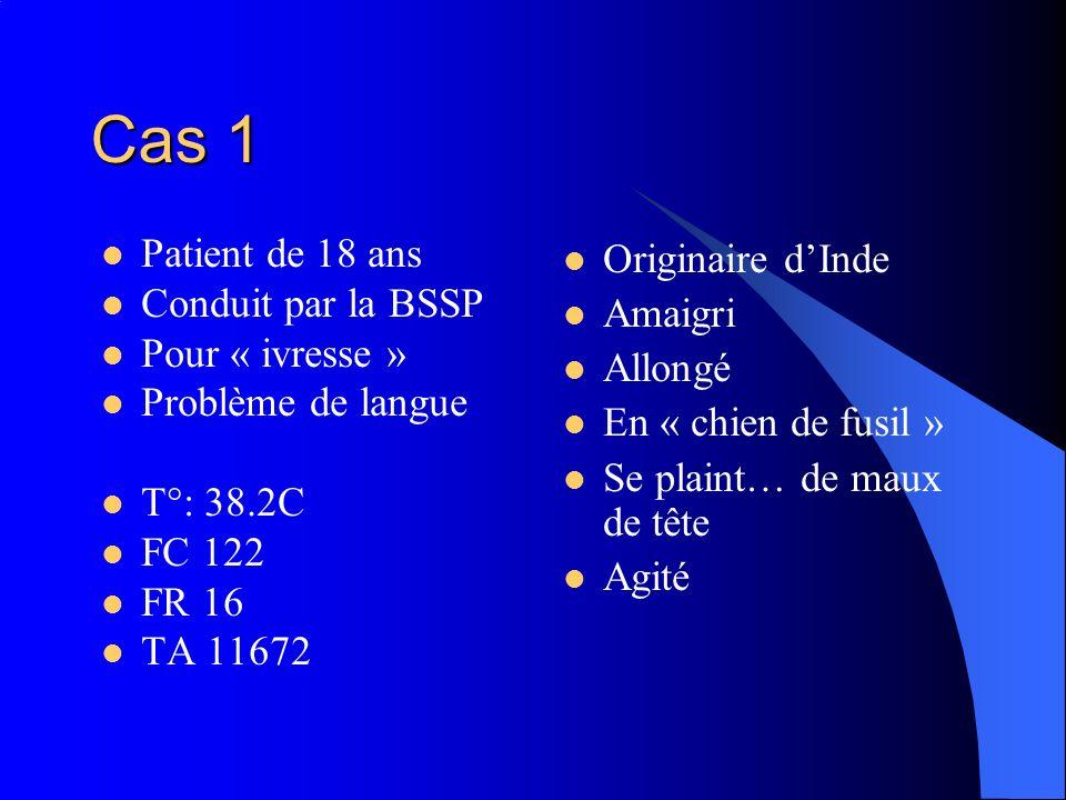 Cas 1 Patient de 18 ans Conduit par la BSSP Pour « ivresse » Problème de langue T°: 38.2C FC 122 FR 16 TA 11672 Originaire dInde Amaigri Allongé En «
