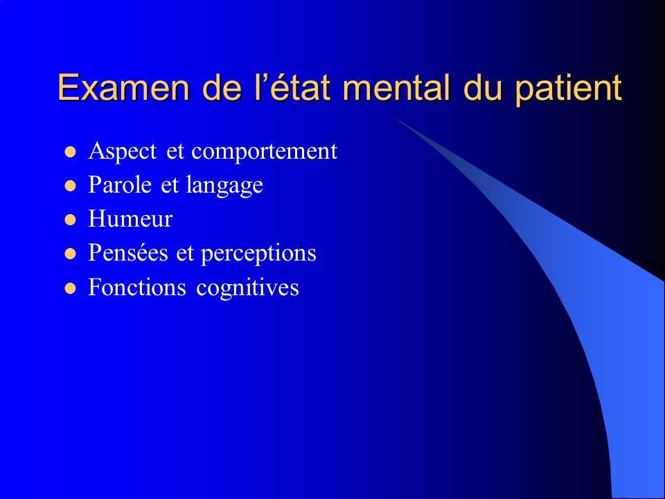 Examen de létat mental du patient Aspect et comportement Parole et langage Humeur Pensées et perceptions Fonctions cognitives