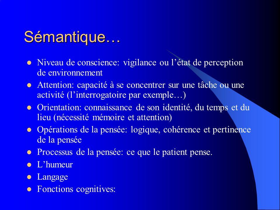 Sémantique… Niveau de conscience: vigilance ou létat de perception de environnement Attention: capacité à se concentrer sur une tâche ou une activité