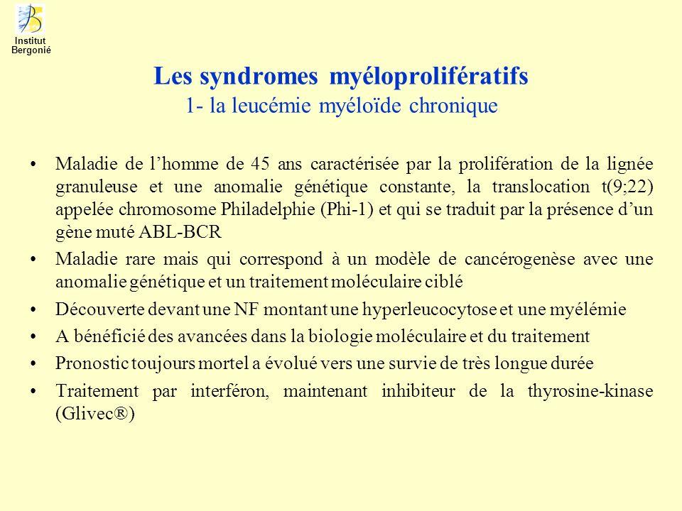 Les syndromes myéloprolifératifs 1- la leucémie myéloïde chronique Maladie de lhomme de 45 ans caractérisée par la prolifération de la lignée granuleu