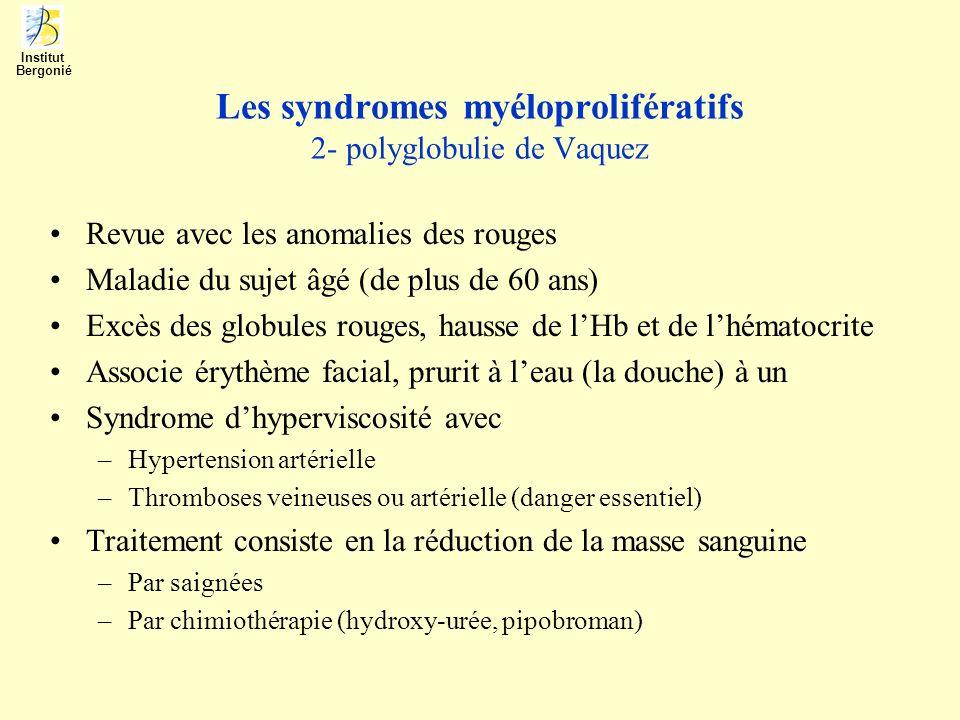 Les syndromes myéloprolifératifs 2- polyglobulie de Vaquez Revue avec les anomalies des rouges Maladie du sujet âgé (de plus de 60 ans) Excès des glob