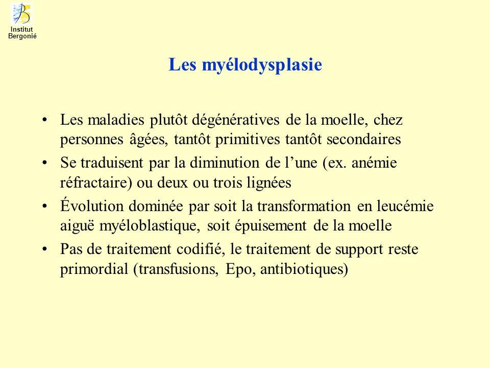 Les myélodysplasie Les maladies plutôt dégénératives de la moelle, chez personnes âgées, tantôt primitives tantôt secondaires Se traduisent par la dim