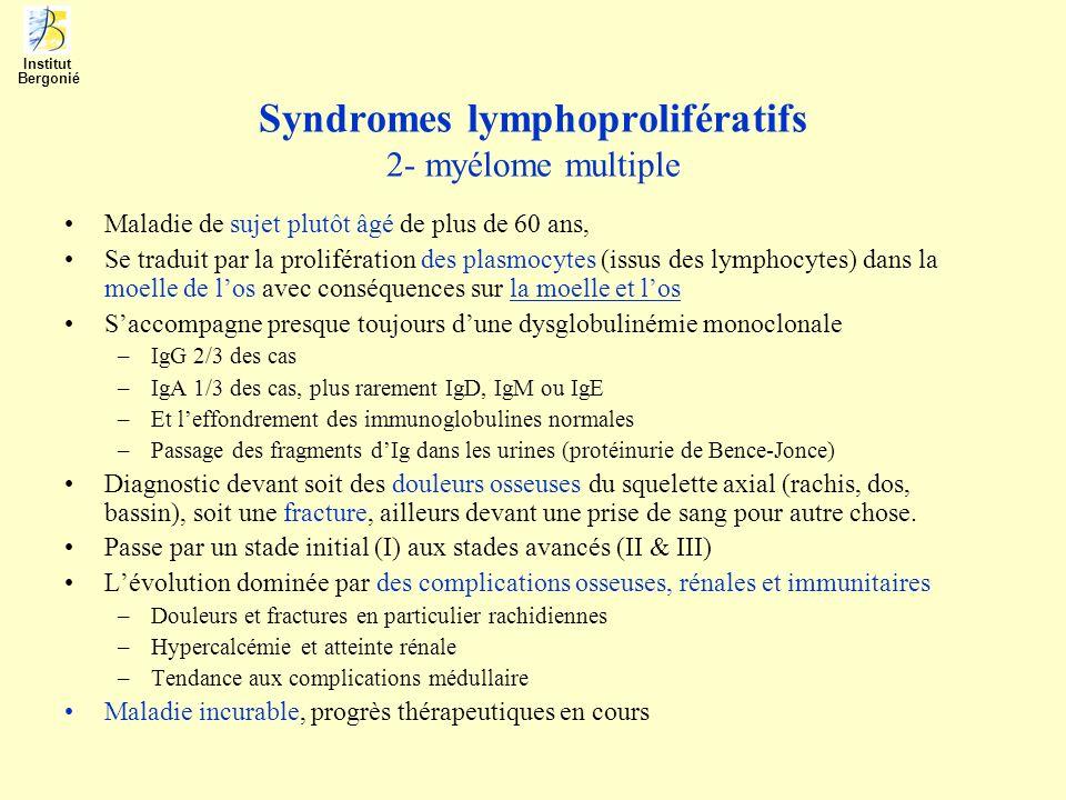 Syndromes lymphoprolifératifs 2- myélome multiple Maladie de sujet plutôt âgé de plus de 60 ans, Se traduit par la prolifération des plasmocytes (issu