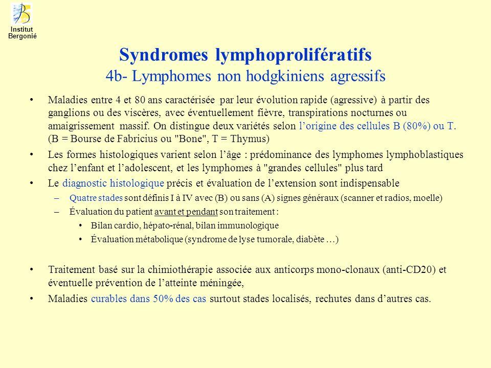 Syndromes lymphoprolifératifs 4b- Lymphomes non hodgkiniens agressifs Maladies entre 4 et 80 ans caractérisée par leur évolution rapide (agressive) à