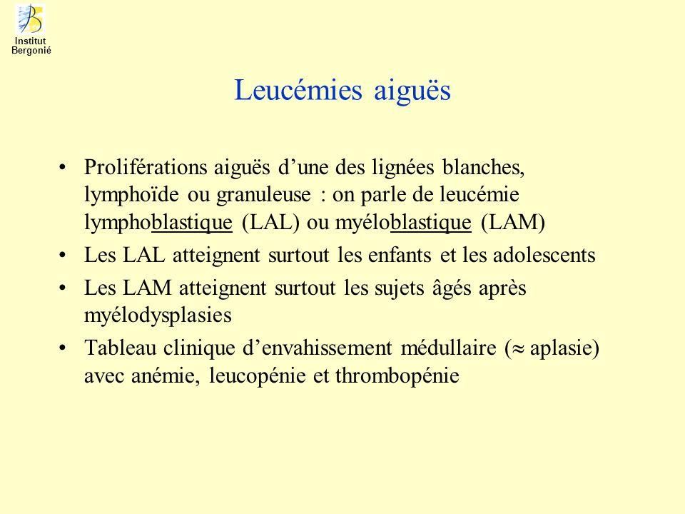 Leucémies aiguës Proliférations aiguës dune des lignées blanches, lymphoïde ou granuleuse : on parle de leucémie lymphoblastique (LAL) ou myéloblastiq