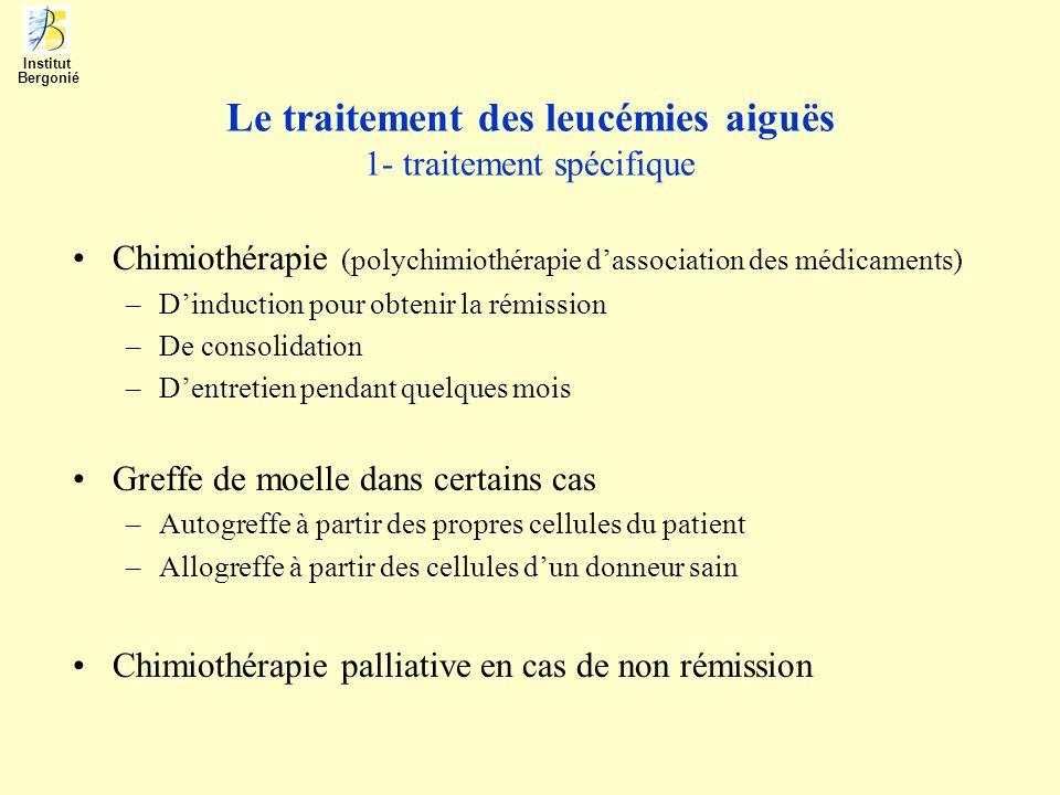 Le traitement des leucémies aiguës 2- traitement non spécifique Antibiothérapie (polyantibiothérapie pour infection par neutropénie) –De durée variable selon lévolution –De nature spécifique selon le germe ou à large spectre –En association à lisolement du patient et mesures dhygiène Transfusions dhématies ou de plaquettes –En cas danémie (limite Hb 7 à 8 g/ dl) 3 à 4 unités –En cas de thrombopénie et menace hémorragique, plaquettes daphérèse mieux que standard (moins dallo-immunisation) Soins de support alimentaire et psychologique (long confinement et isolement) et ceux des complications (mucite) Institut Bergonié