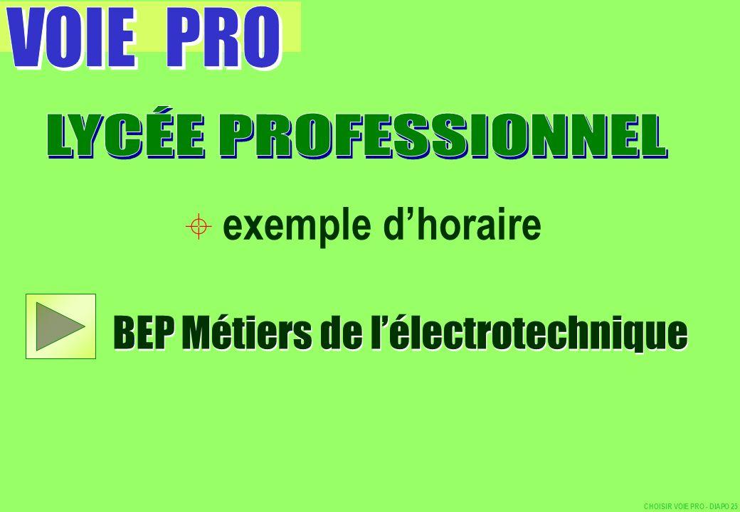 exemple dhoraire BEP Métiers de lélectrotechnique CHOISIR VOIE PRO - DIAPO 25