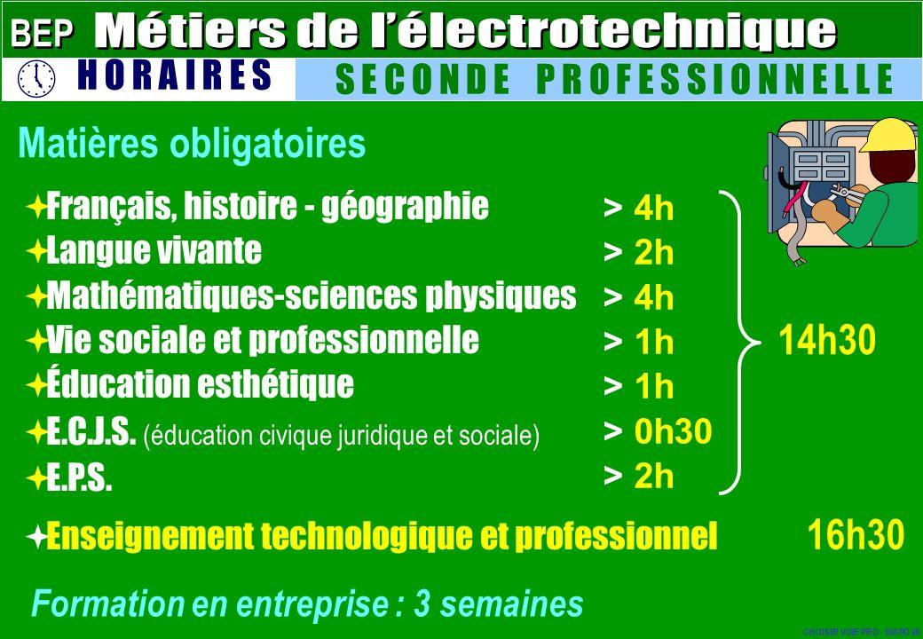 Français, histoire - géographie Langue vivante Mathématiques-sciences physiques Vie sociale et professionnelle Éducation esthétique E.C.J.S. (éducatio