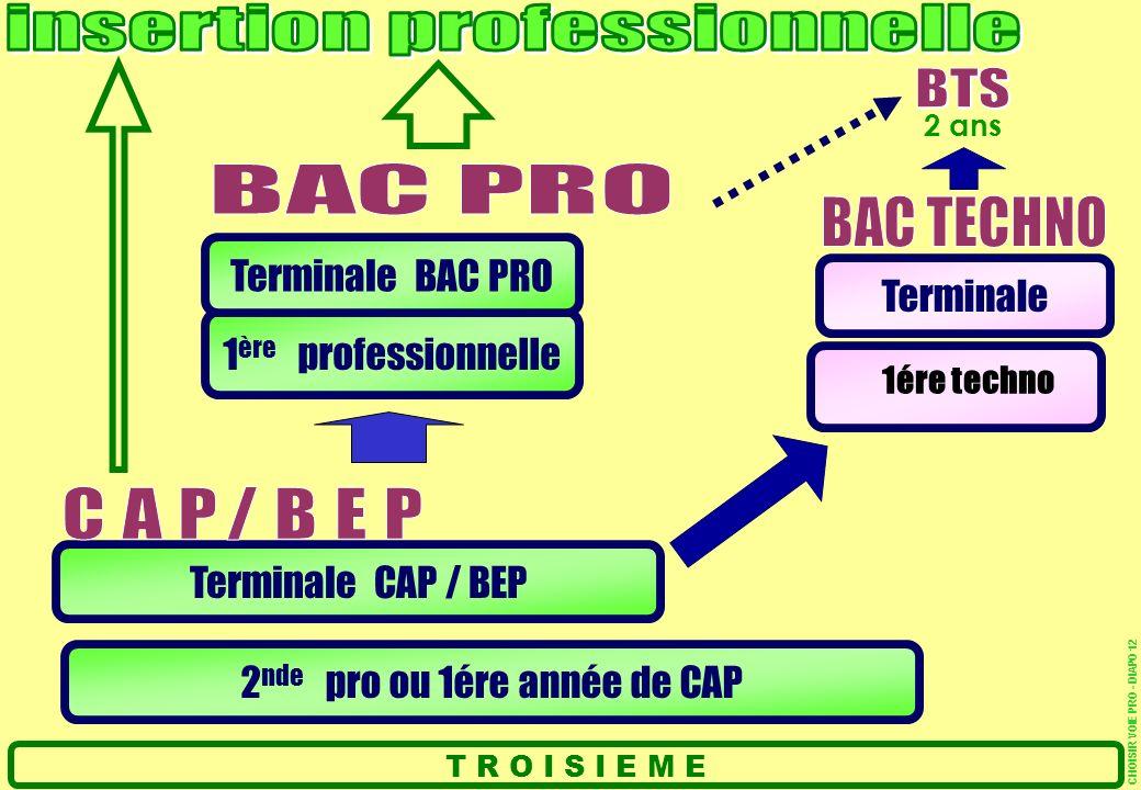 2 nde pro ou 1ére année de CAP Terminale CAP / BEP 1 ère professionnelle Terminale BAC PRO T R O I S I E M E Terminale 2 ans CHOISIR VOIE PRO - DIAPO