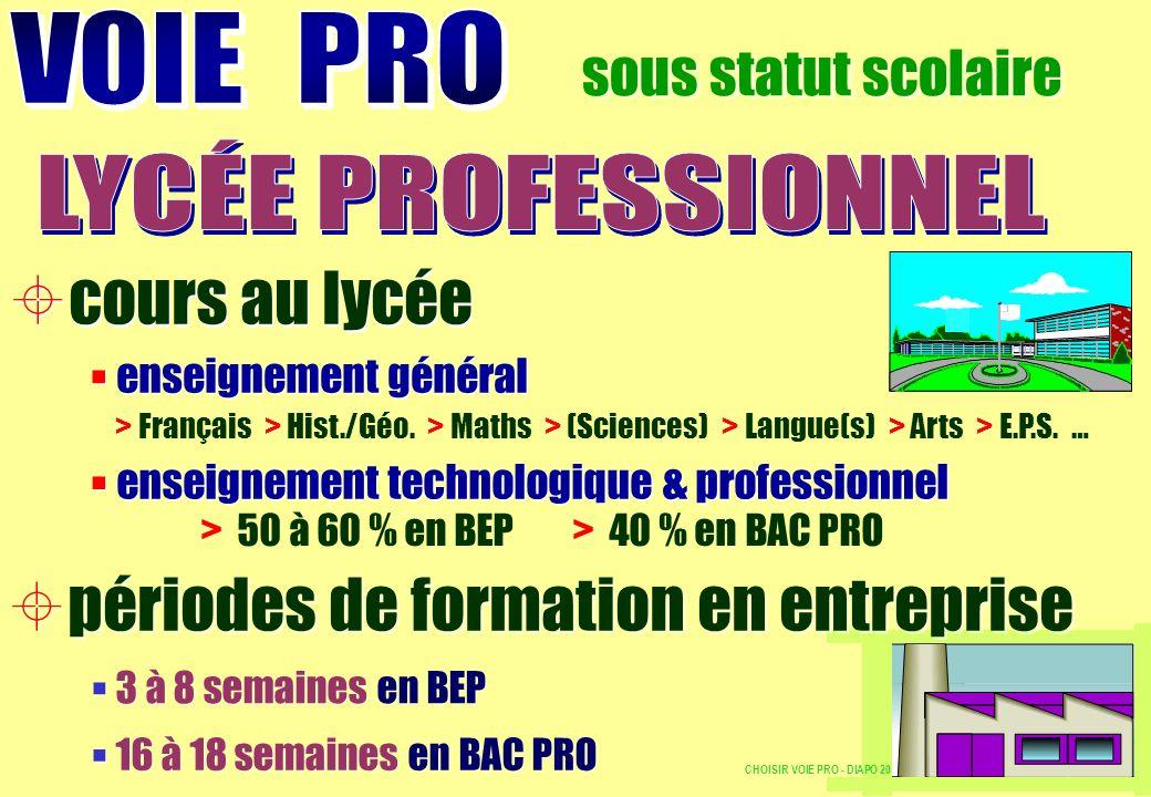 > 50 à 60 % en BEP > 40 % en BAC PRO 3 à 8 semaines en BEP 16 à 18 semaines en BAC PRO > Français > Hist./Géo. > Maths > (Sciences) > Langue(s) > Arts