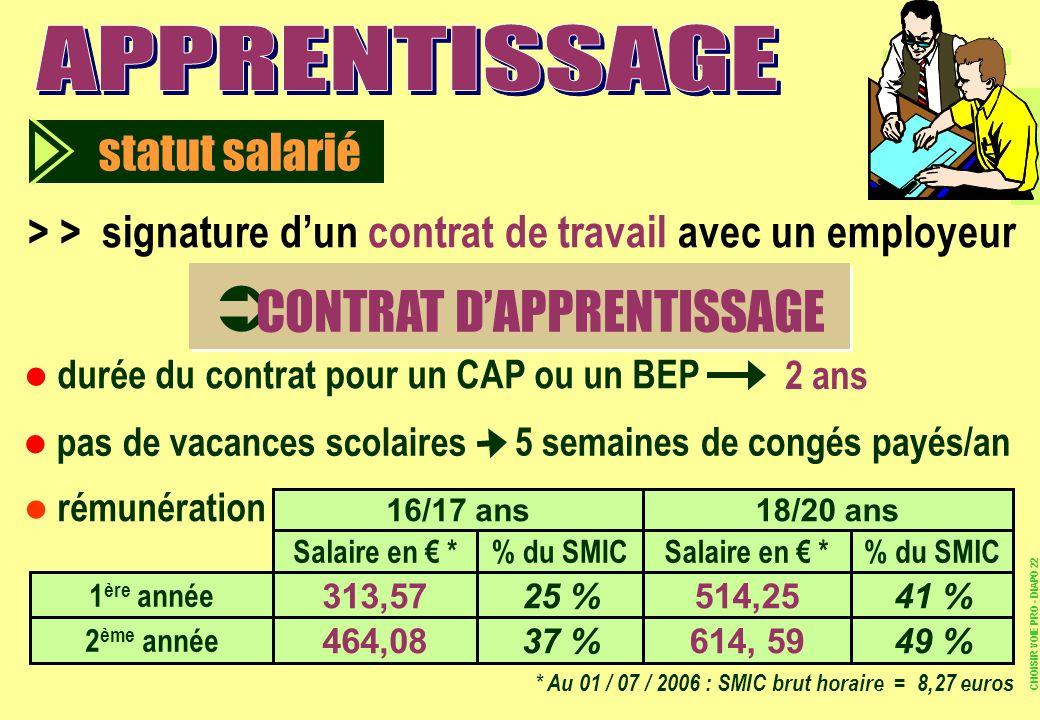 > > signature dun contrat de travail avec un employeur statut salarié CONTRAT DAPPRENTISSAGE durée du contrat pour un CAP ou un BEP 2 ans pas de vacan