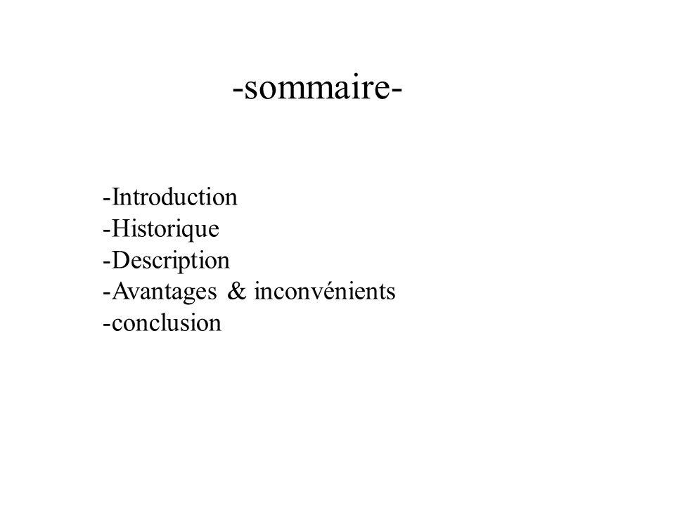 -sommaire- -Introduction -Historique -Description -Avantages & inconvénients -conclusion