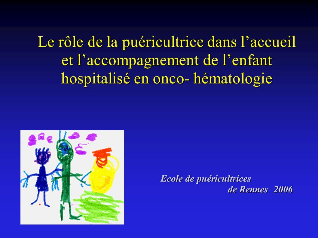 Le rôle de la puéricultrice dans laccueil et laccompagnement de lenfant hospitalisé en onco- hématologie Ecole de puéricultrices Ecole de puéricultric
