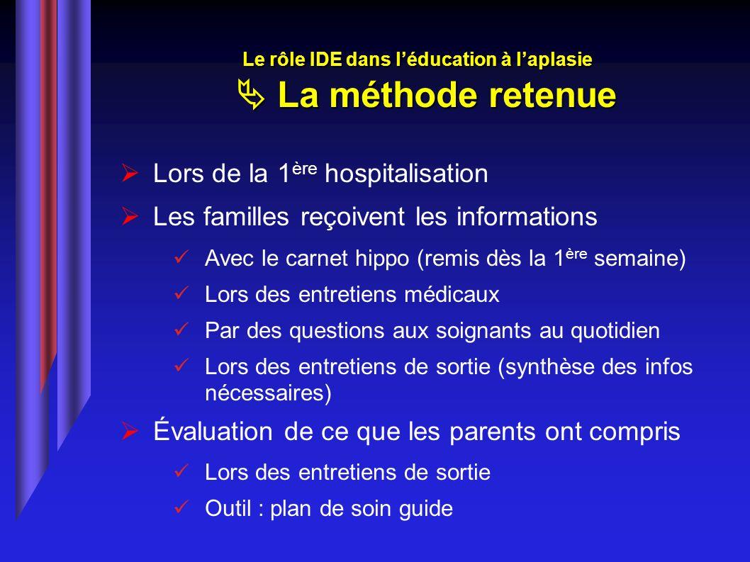 Lors de la 1 ère hospitalisation Les familles reçoivent les informations Avec le carnet hippo (remis dès la 1 ère semaine) Lors des entretiens médicau