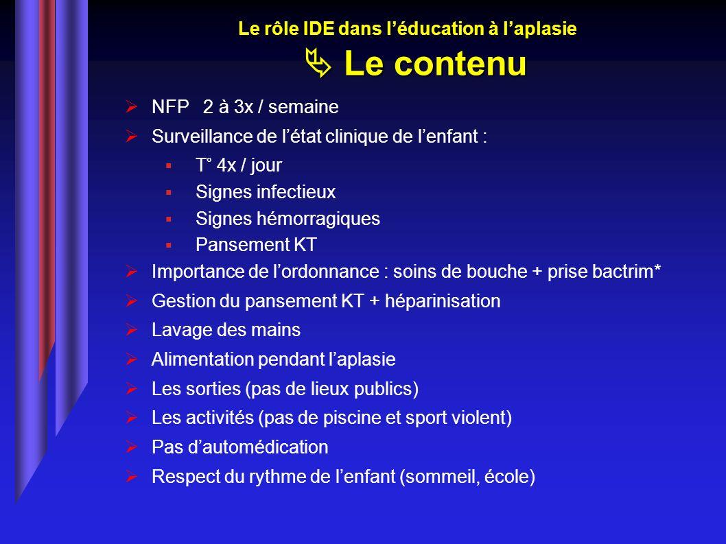 NFP 2 à 3x / semaine Surveillance de létat clinique de lenfant : T° 4x / jour Signes infectieux Signes hémorragiques Pansement KT Importance de lordon