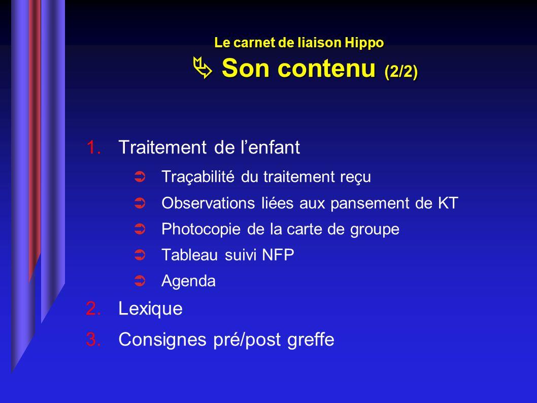 Traitement de lenfant Traçabilité du traitement reçu Observations liées aux pansement de KT Photocopie de la carte de groupe Tableau suivi NFP Agenda