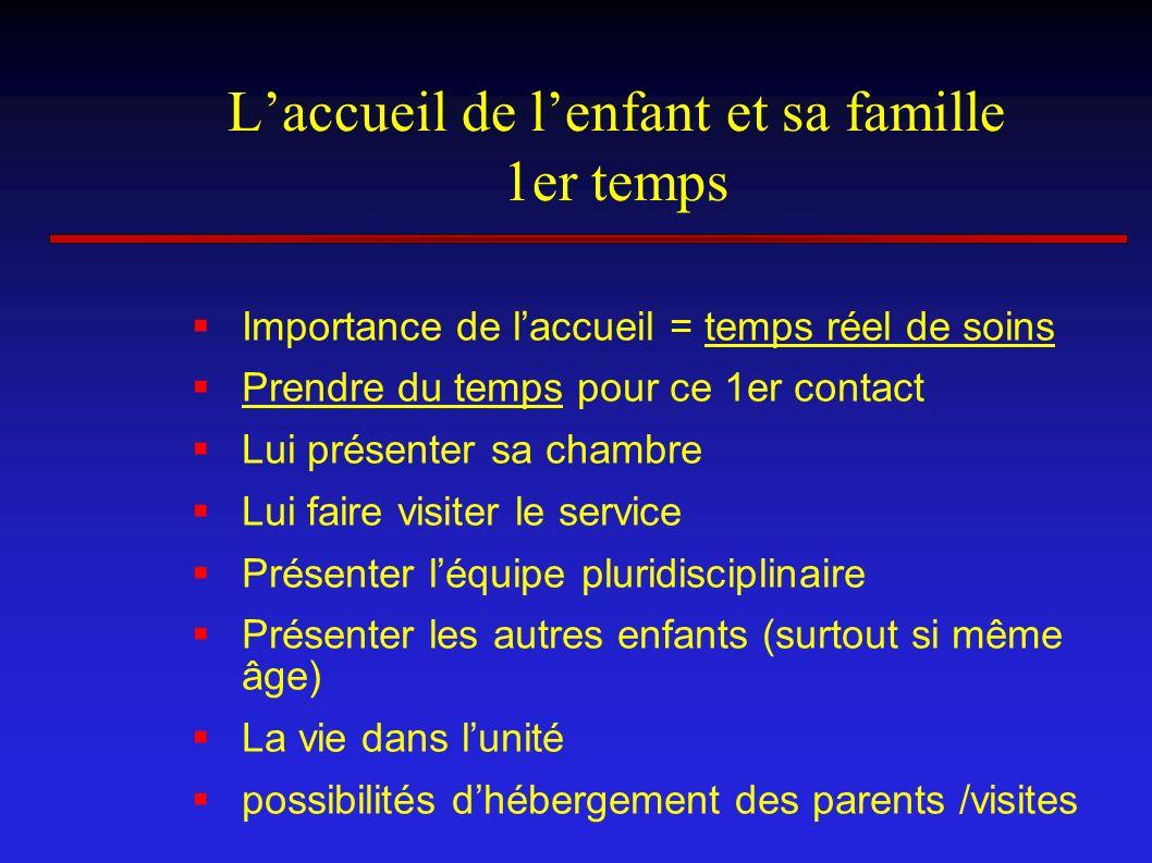 Laccueil de lenfant et sa famille 1er temps Importance de laccueil = temps réel de soins Prendre du temps pour ce 1er contact Lui présenter sa chambre