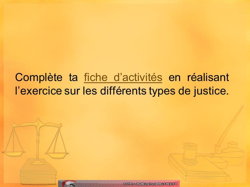 Complète ta fiche dactivités en réalisant lexercice sur les différents types de justice.fiche dactivités