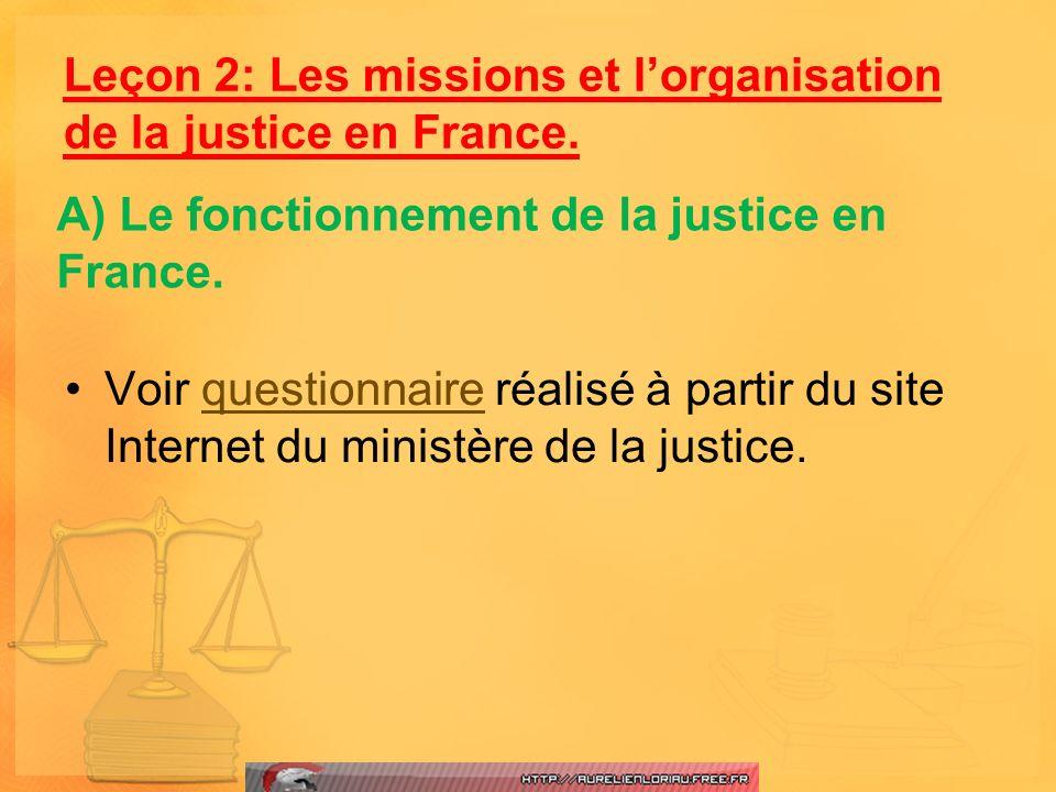 Voir questionnaire réalisé à partir du site Internet du ministère de la justice.questionnaire Leçon 2: Les missions et lorganisation de la justice en